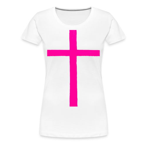 Big Pink Cross cross religion Jesus Christ ART Ave - Women's Premium T-Shirt