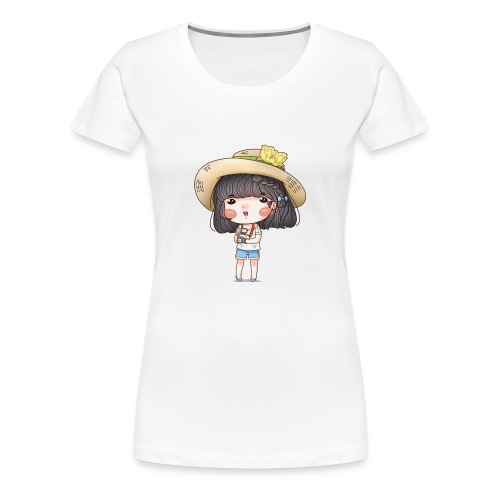 Vintage cute girl taking camera - Women's Premium T-Shirt