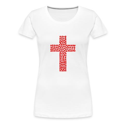 Cross with hearts - Women's Premium T-Shirt