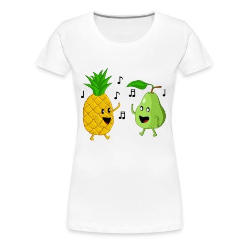 Dancing Pineapple and Pear - Women's Premium T-Shirt