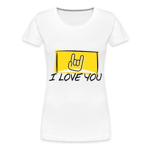 I Love You with sign language Yellow window. - Women's Premium T-Shirt