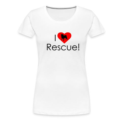 I Heart Rescue Pug - Women's Premium T-Shirt
