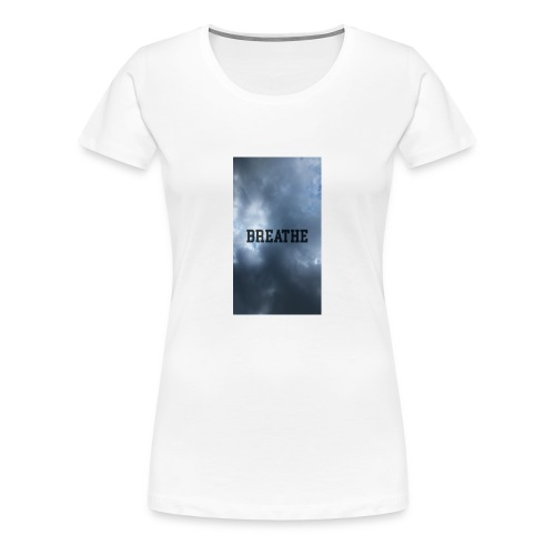 Clouds with Breathe text - Women's Premium T-Shirt