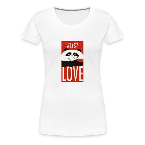 Panda Funny Romantic Cartoon Love Cute Flower - Women's Premium T-Shirt