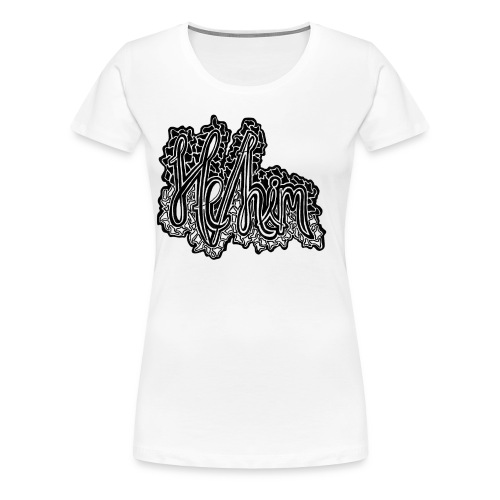 He/Him Cursive Blob - Large - Women's Premium T-Shirt