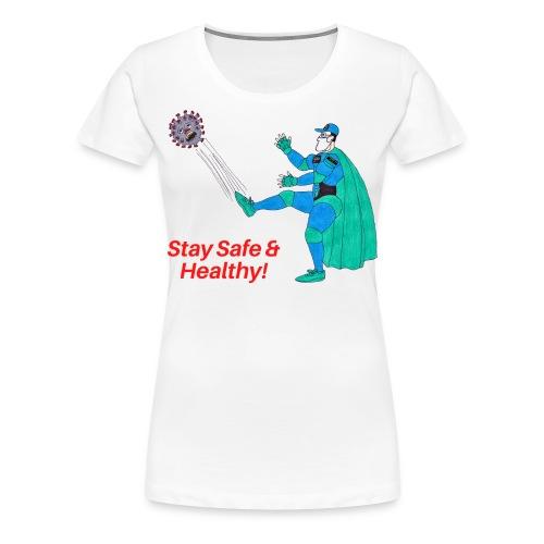 PYGOD Man kicking COVID 19 - Stay Safe Healthy - Women's Premium T-Shirt