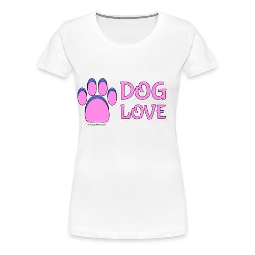 Pink Dog paw print Dog Love - Women's Premium T-Shirt