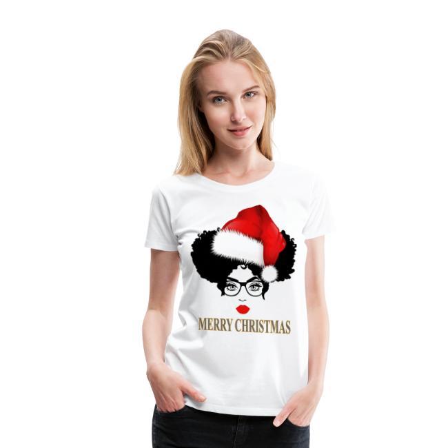 Merry Christmas Afro Diva Lips Puff Melanin Santa - Women's Premium T-Shirt | Natural Hair T-Shirt