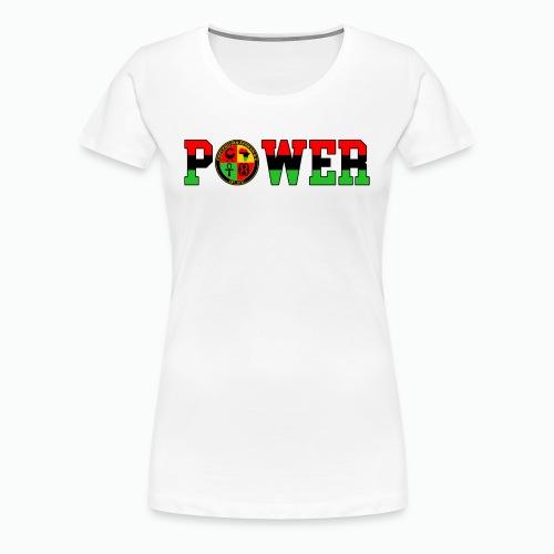 Afrikan Power with Logo and Black trim - Women's Premium T-Shirt