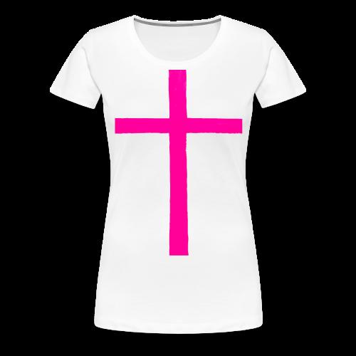 Big Pink Cross cross religion Jesus Christ ART Ave - Women's Premium T-Shirt