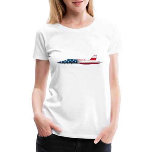 American Flag Military Jet - Women's Premium T-Shirt