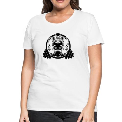 Weightlifting Muscle Fitness Gym Cartoon - Women's Premium T-Shirt