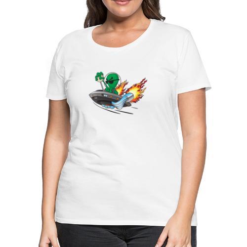 UFO Alien Hot Rod Cartoon Illustration - Women's Premium T-Shirt