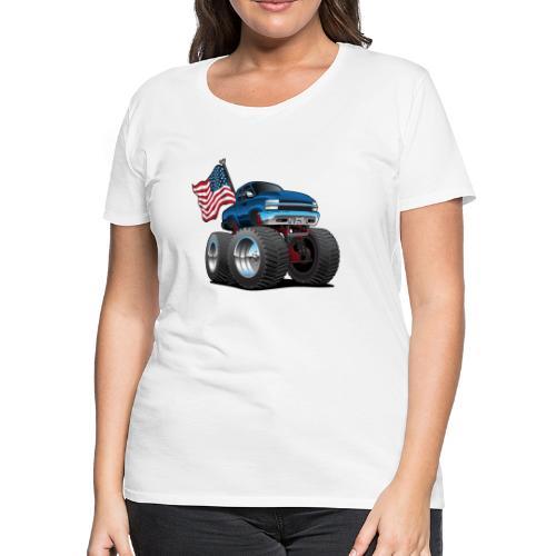 Monster Pickup Truck with USA Flag Cartoon - Women's Premium T-Shirt