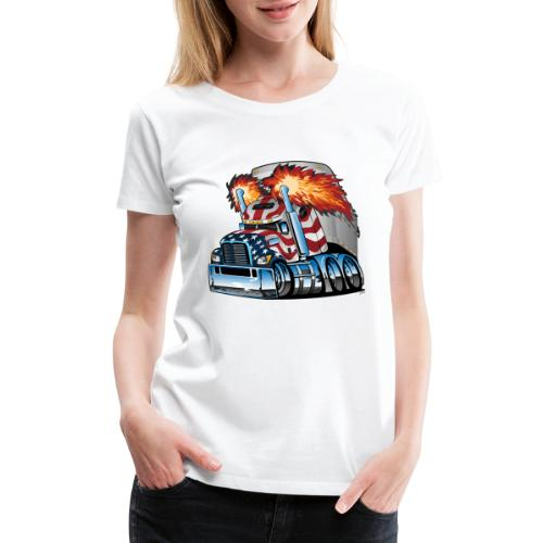 Patriotic American Flag Semi Truck Tractor Trailer - Women's Premium T-Shirt