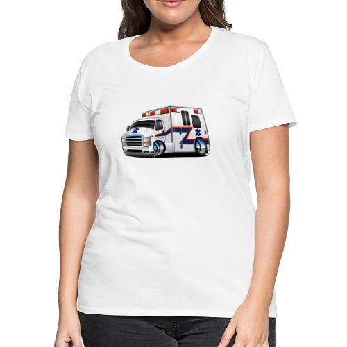 Paramedic EMT Ambulance Rescue Truck Cartoon - Women's Premium T-Shirt
