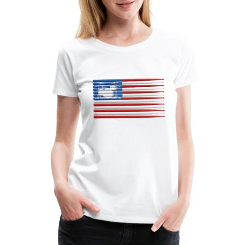 American Drummer Flag with Drum Kit and Sticks - Women's Premium T-Shirt