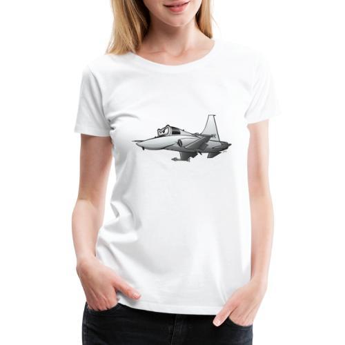 Military Fighter Jet Airplane Cartoon - Women's Premium T-Shirt