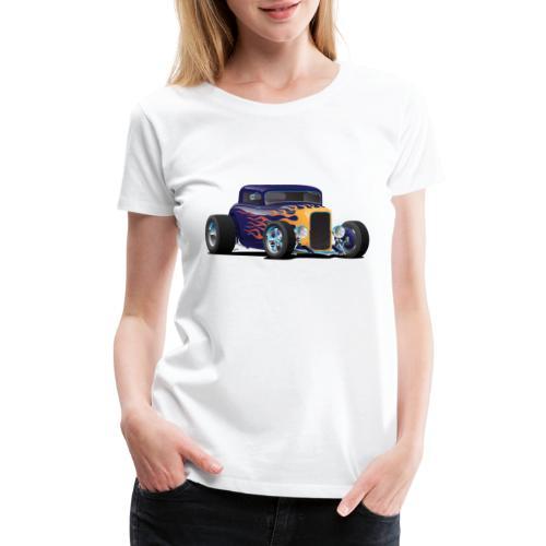 Vintage Hot Rod Car with Classic Flames - Women's Premium T-Shirt