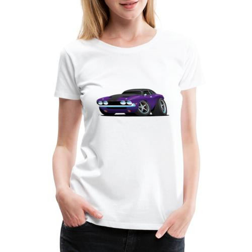 Classic Muscle Car Cartoon - Women's Premium T-Shirt