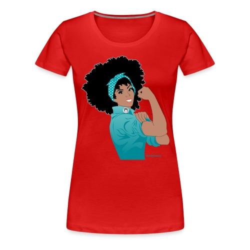 GlobalCouture WeCanDoIt TEAL Girl RGB png - Women's Premium T-Shirt