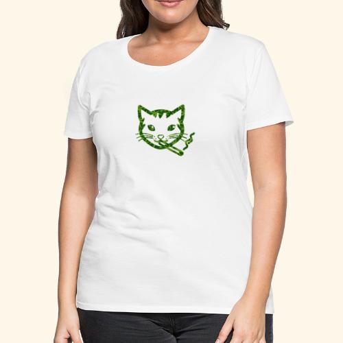 Smoking Cat Design - Women's Premium T-Shirt