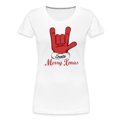 Santa Claus hand rock n roll - Women's Premium T-Shirt