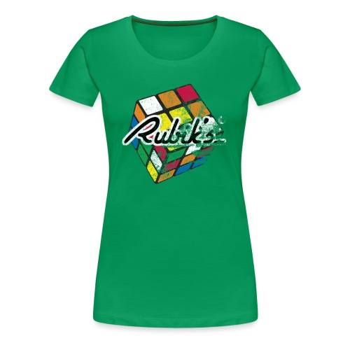 Rubik's Cube Distressed and Faded - Women's Premium T-Shirt