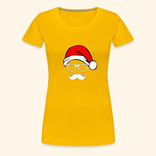 Santa with Geek and Mustache - Women's Premium T-Shirt