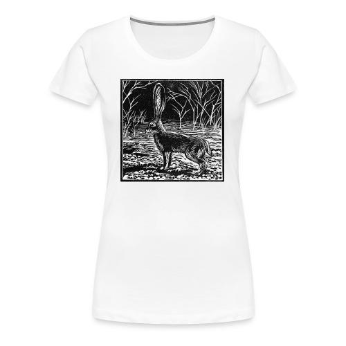 Jackrabbit Linocut - Women's Premium T-Shirt