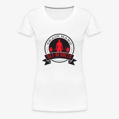TRAIN HARD CLASSIC HOODIE - Gray & Red - Women's Premium T-Shirt