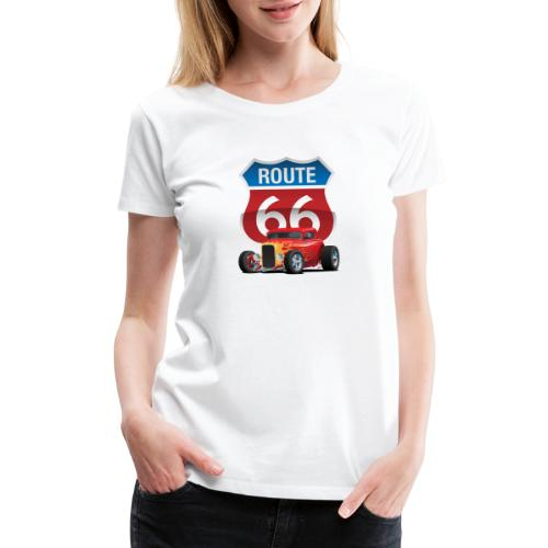 Route 66 Sign with Classic American Red Hotrod - Women's Premium T-Shirt