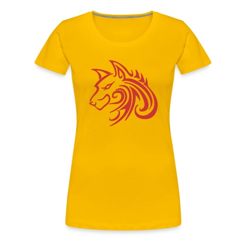 3d31c4ec40ea67a81bf38dcb3d4eeef4 wolf 1 red wolf c - Women's Premium T-Shirt