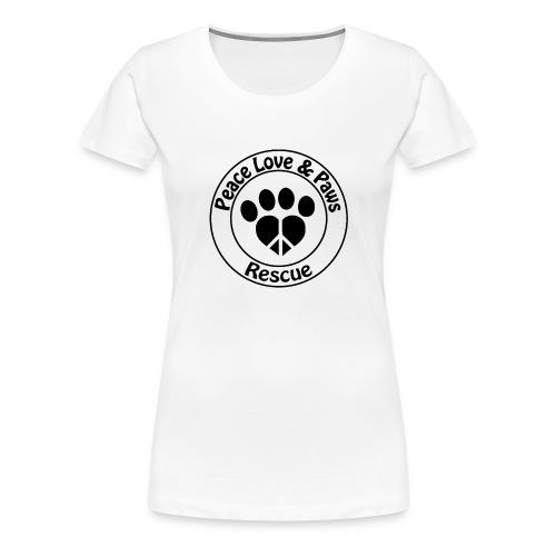 Peace Love & Paws Rescue Black Logo - Women's Premium T-Shirt