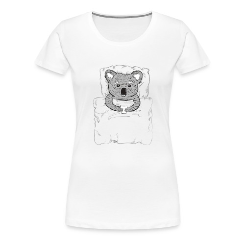 Print With Koala Lying In A Bed - Women's Premium T-Shirt