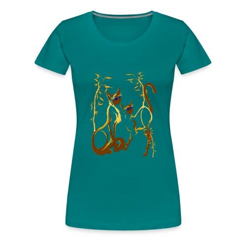 Two gold Siamese Kitties - Women's Premium T-Shirt