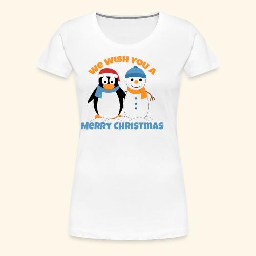 santa penguin with snowman christmas - Women's Premium T-Shirt