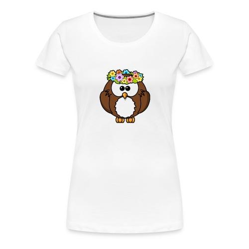 Owl With Flowers On Head T-Shirt - Women's Premium T-Shirt
