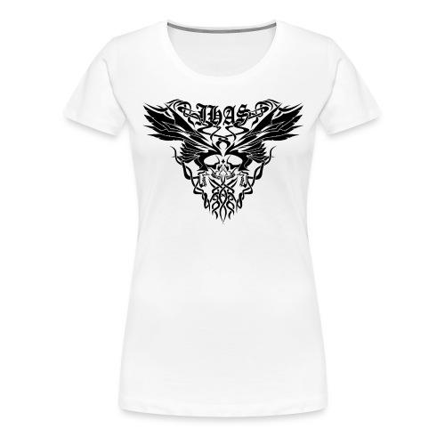 Vintage JHAS Tribal Skull Wings Illustration - Women's Premium T-Shirt