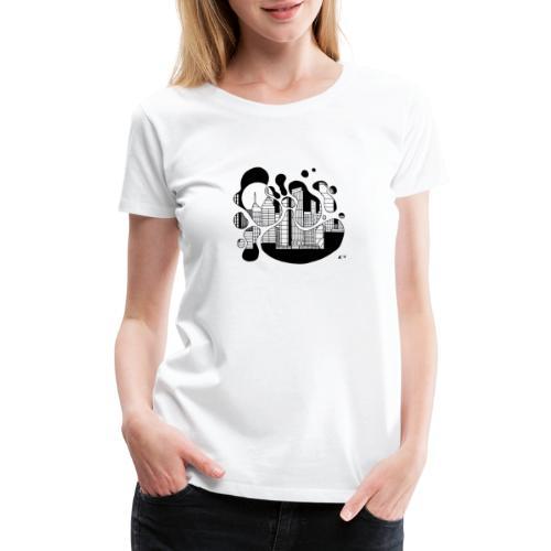 Cityscape Ink Splash by Jack L Barton - Women's Premium T-Shirt