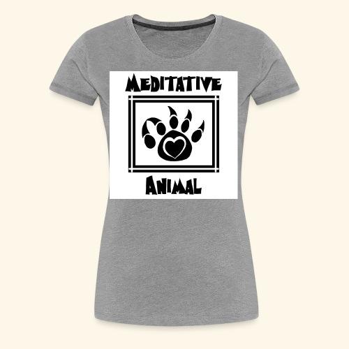 B&W Meditative Animal Paw - Women's Premium T-Shirt