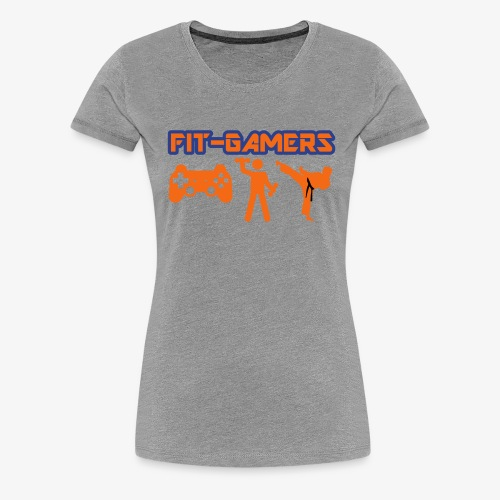 FIT-GAMERS Logo w/ Icons - Women's Premium T-Shirt