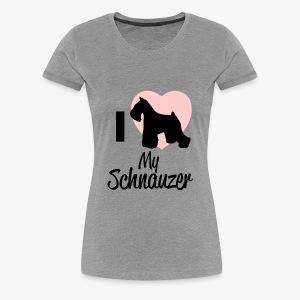 I Heart My Schnauzer T-Shirt for Dog Lovers - Women's Premium T-Shirt