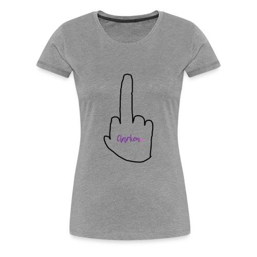 Poorly Drawn Middle Finger w/ Clarken Logo - Women's Premium T-Shirt