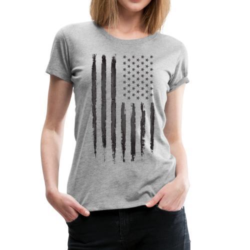 Black Grunge USA Flag - Women's Premium T-Shirt