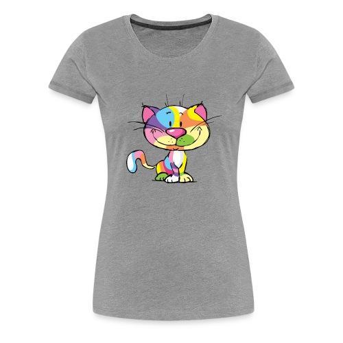 Cute Kitty Cartoon Colorful Pop Art Design - Women's Premium T-Shirt
