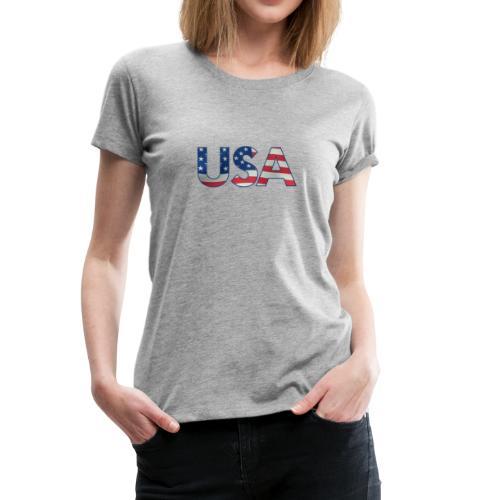 USA Flag T-shirt 4th July Fourth Red White Blue - Women's Premium T-Shirt