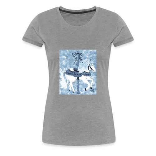 Carousel Horse Merry Go Round Blue Gray - Women's Premium T-Shirt