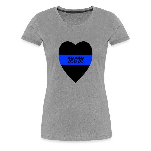 BLUE LINE HEART MOM SHIRT - Women's Premium T-Shirt