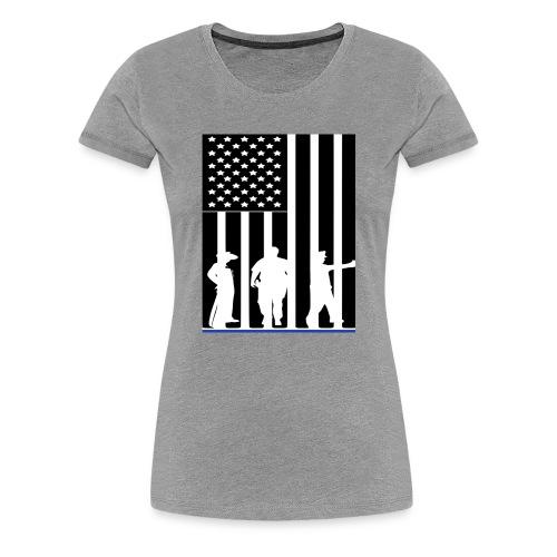 LAW ENFORCEMENT TRIO FLAG SHIRT - Women's Premium T-Shirt